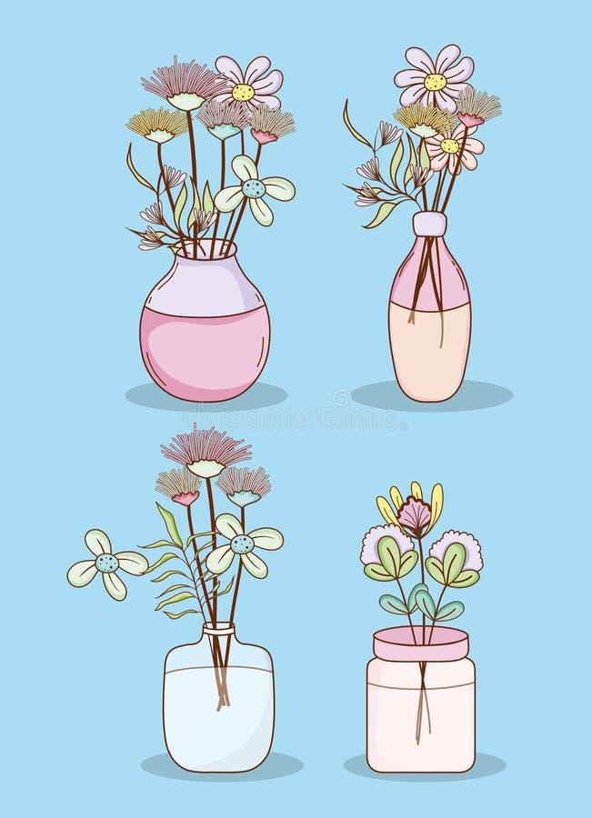 Reeks bloemen in metselaarkruiken royalty-vrije illustratie