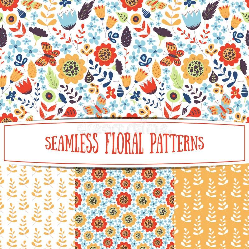 Reeks bloemen naadloze patronen vector illustratie