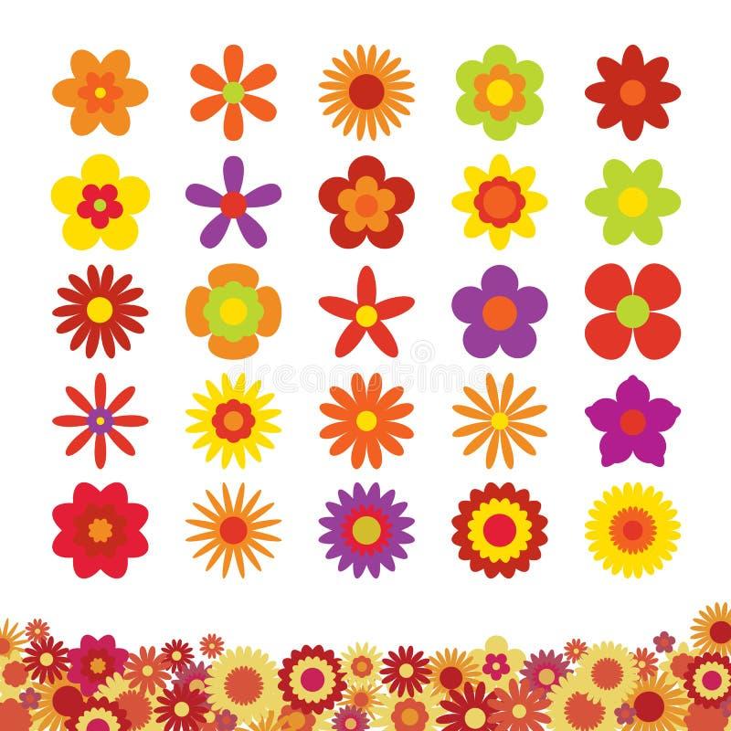 Reeks bloemen op witte achtergrond wordt geïsoleerd die royalty-vrije illustratie