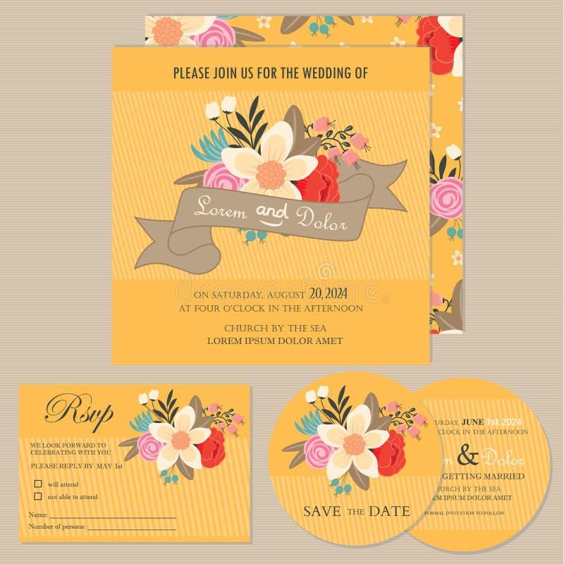 Reeks bloemen uitstekende kaarten van de huwelijksuitnodiging stock illustratie