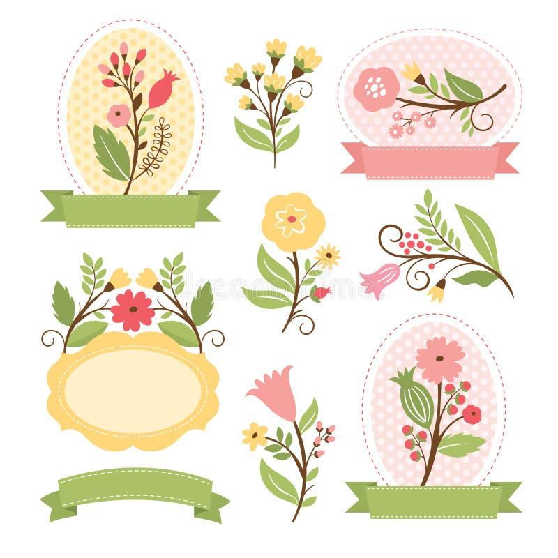 Reeks bloemenboeketten en kaders vector illustratie