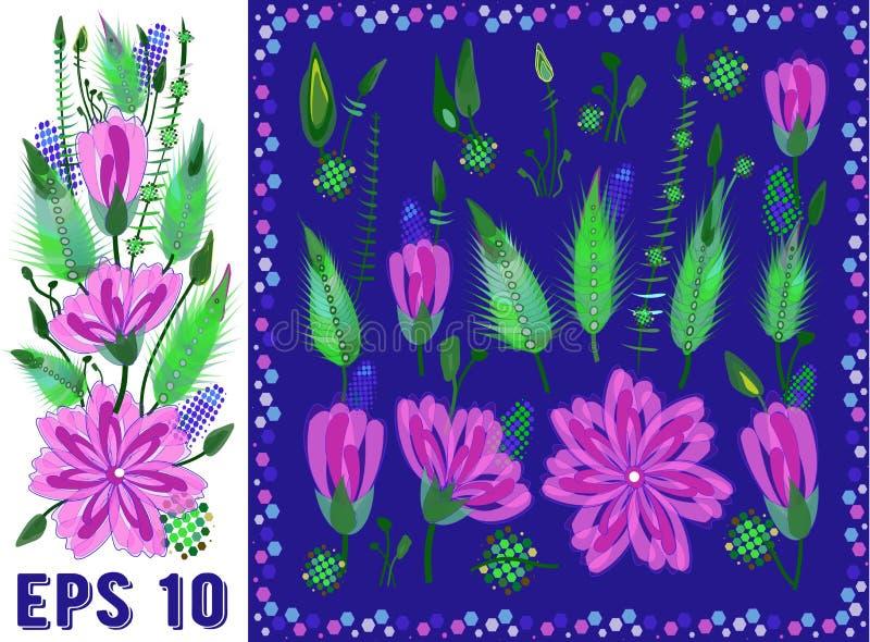 Reeks Bloemenelementen met Roze Daisy Type Flowers, Bladeren en Knoppen Vector Getrokken Botanische Flora voor Decoratie, Huwelij stock illustratie