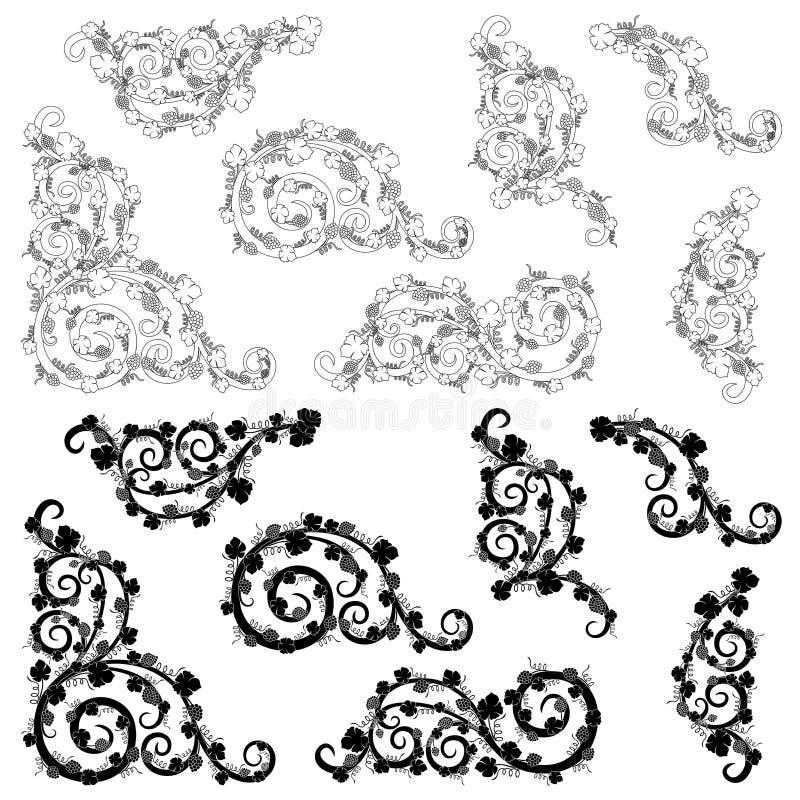 Reeks bloemenelementen van het grensontwerp vector illustratie