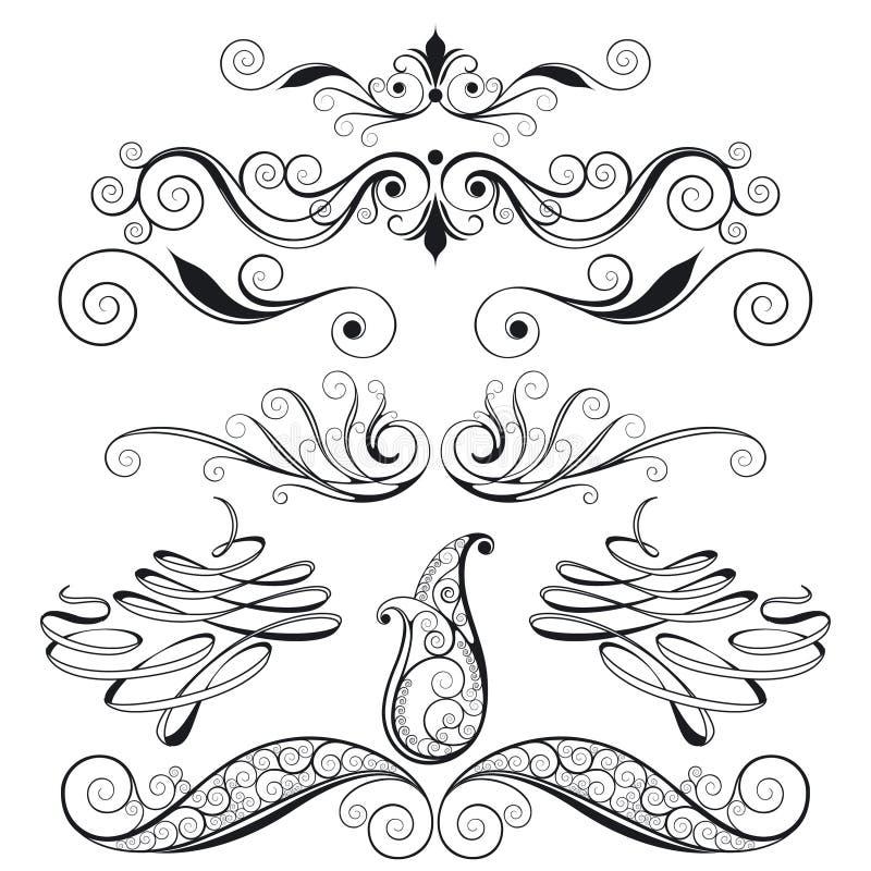 Reeks BloemenElementen van het Ontwerp royalty-vrije illustratie