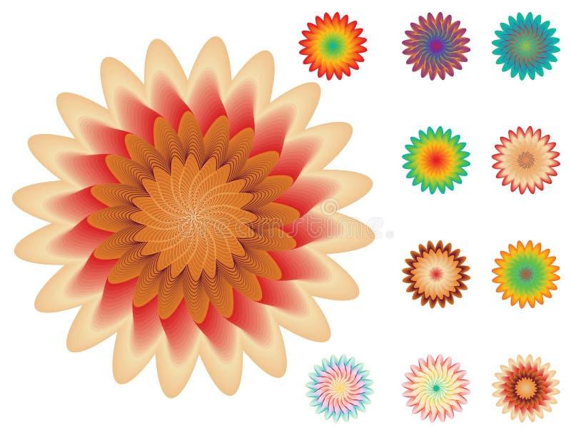 Reeks bloemenelementen voor uw ontwerp op wit stock illustratie