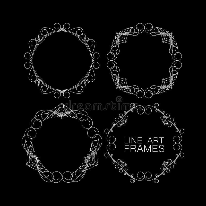 Reeks bloemenmonogramkaders de elementen van de lijnkunst voor desi royalty-vrije illustratie