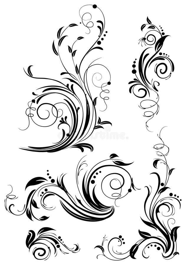 Reeks bloemenontwerpelementen. stock illustratie