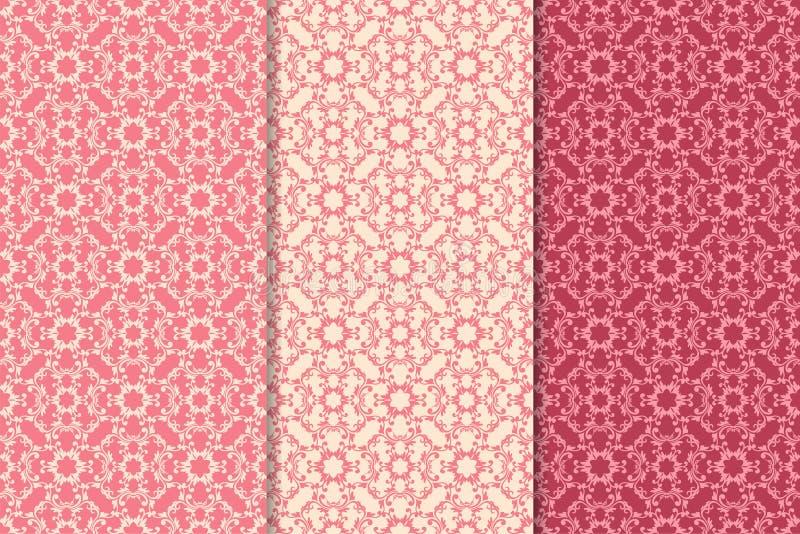 Reeks bloemenornamenten Kersen roze verticale naadloze patronen stock illustratie
