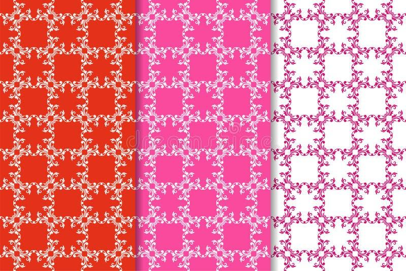 Reeks bloemenornamenten Rode fuchsiakleurig naadloze patronen vector illustratie