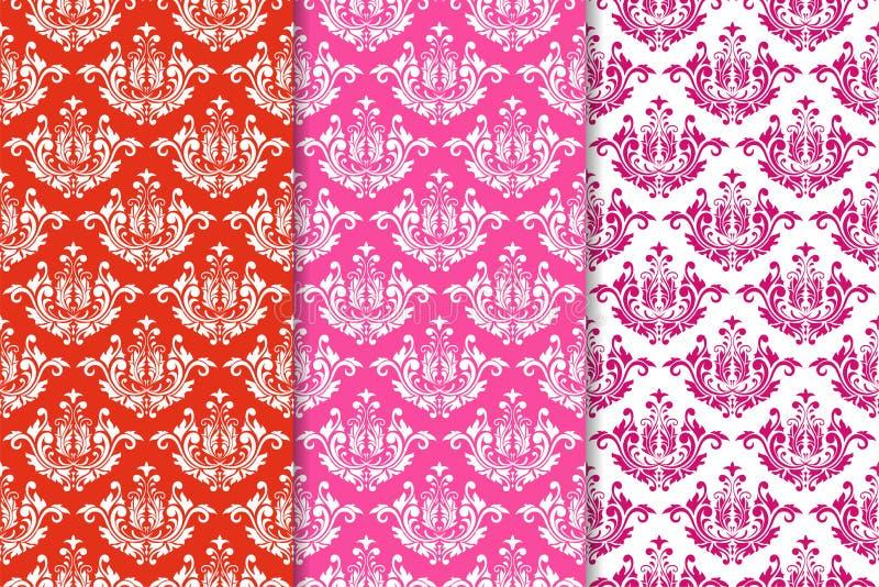 Reeks bloemenornamenten Rode fuchsiakleurig naadloze patronen stock illustratie