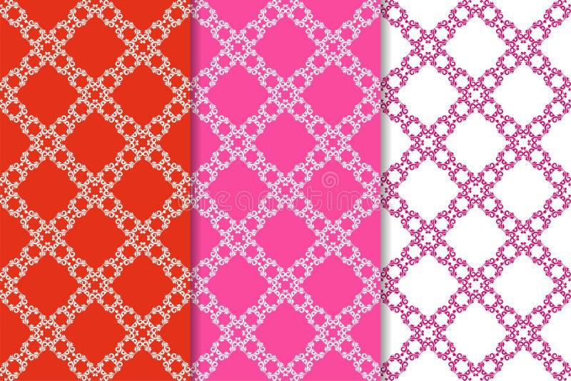 Reeks bloemenornamenten Rode fuchsiakleurig naadloze patronen royalty-vrije illustratie