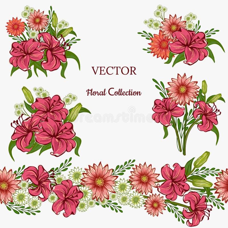 Reeks bloemenregelingen Roze Lelie en Hrizantema met groene bladeren Vector romantische tuinbloemen Naadloze lijn stock illustratie