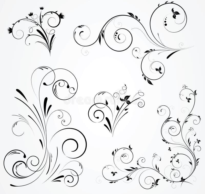 Reeks bloemenwervelingsontwerpen royalty-vrije illustratie