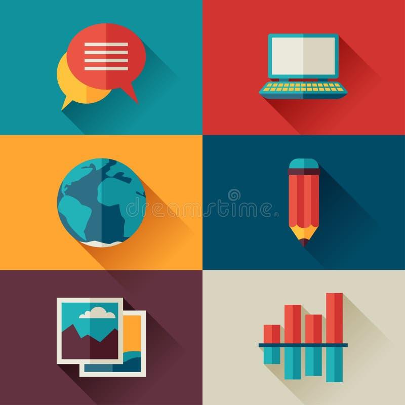 Reeks blogpictogrammen in vlakke ontwerpstijl vector illustratie