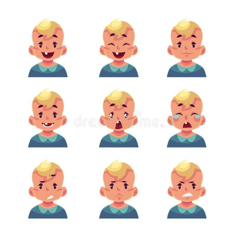 Reeks blonde avatars van de babyjongen met verschillende emoties vector illustratie
