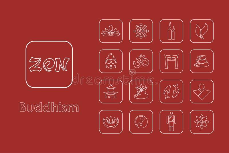 Reeks boeddhisme eenvoudige pictogrammen vector illustratie