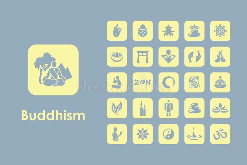 Reeks boeddhisme eenvoudige pictogrammen stock illustratie