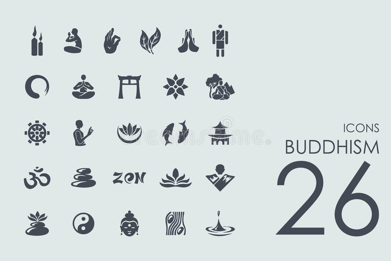 Reeks boeddhismepictogrammen stock illustratie