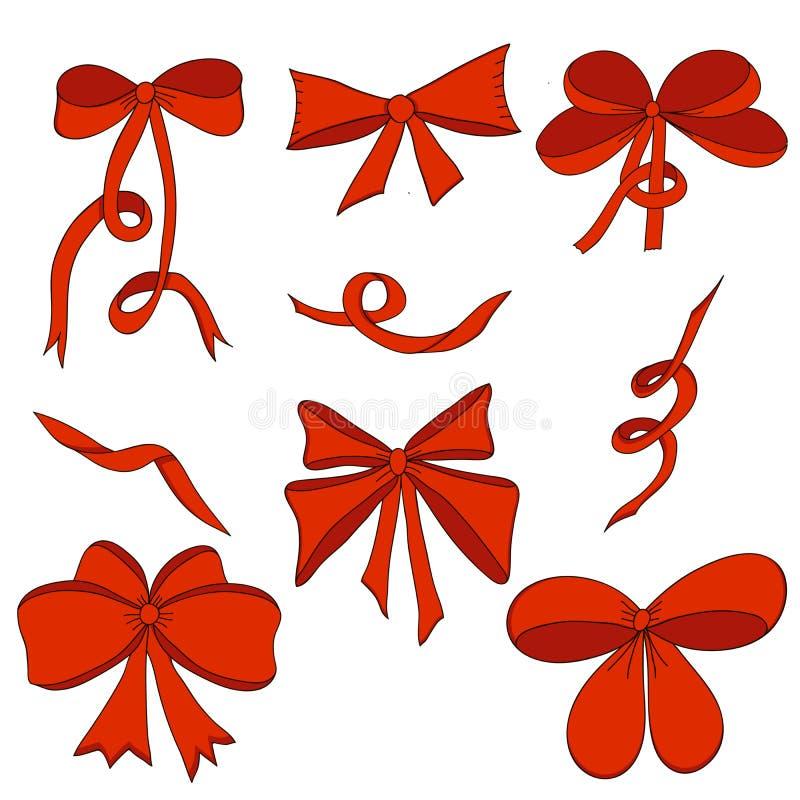 Reeks bogen en satijnlinten Rood Geïsoleerdj op witte achtergrond royalty-vrije illustratie