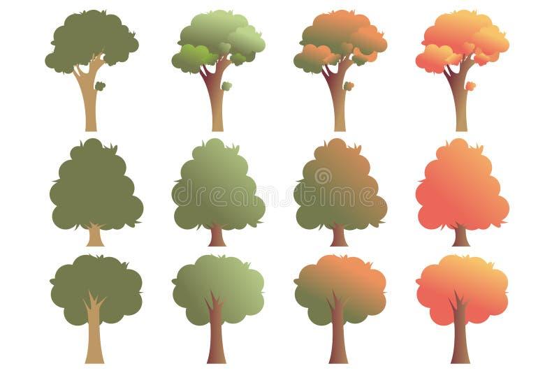 Reeks bomen in diverse die vormen, op witte achtergrond wordt geïsoleerd Vector illustratie, eps 10 vector illustratie
