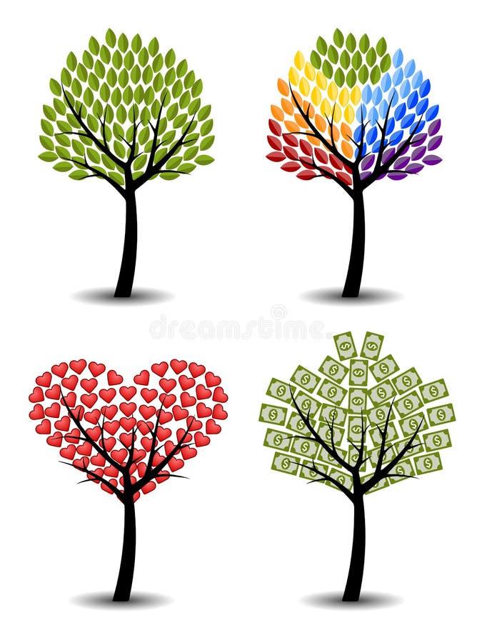 Reeks bomen. Eco, regenboog, harten, geld. royalty-vrije illustratie