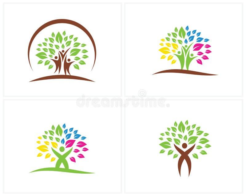 Reeks Bomen met het ontwerpmalplaatje van het Mensenembleem, het ontwerpvector van het Bewegingsembleem