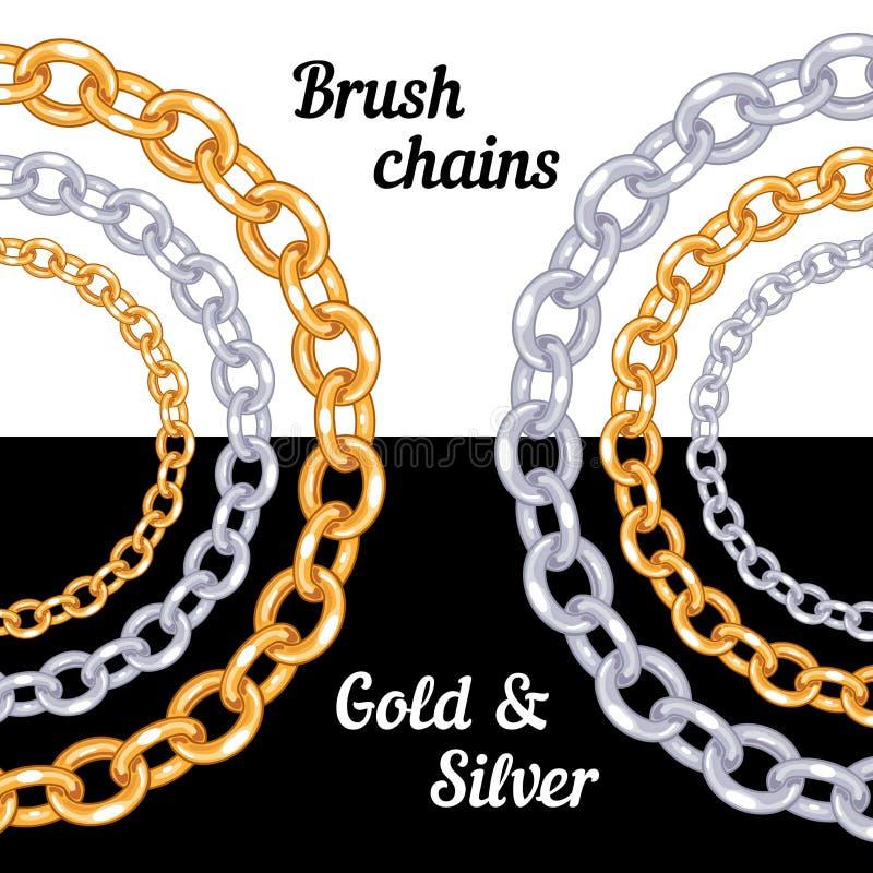 Reeks borstels van het kettingenmetaal - goud en zilver royalty-vrije illustratie