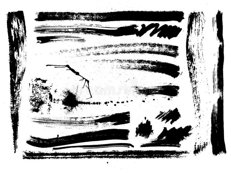 Reeks borstelslagen, vlekken, plonsen, vector vector illustratie