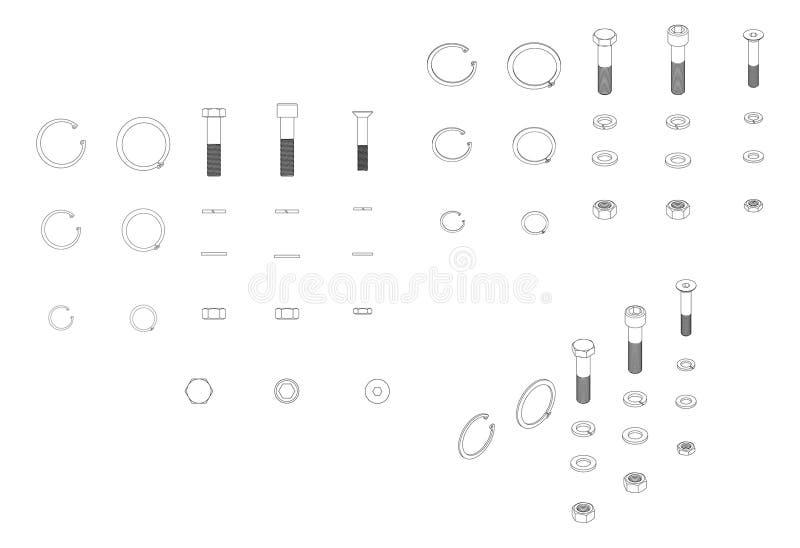 Reeks bouten vector illustratie