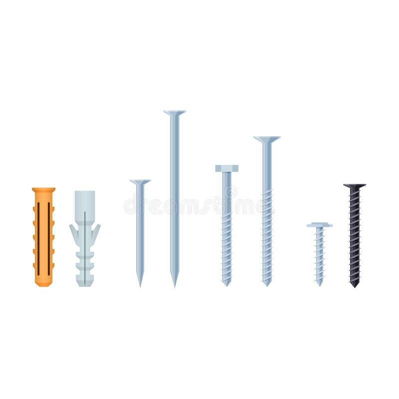 Reeks bouwschroeven, spijkers, bouten, plastic pennen vector illustratie