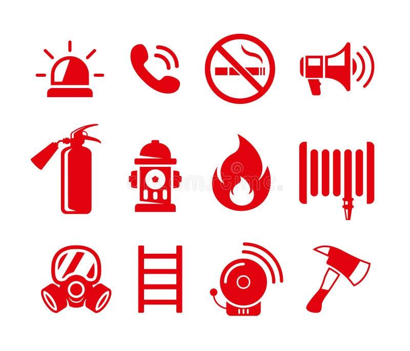 Reeks brandveiligheids vectorpictogrammen Geplaatste de pictogrammen van de brandnoodsituatie royalty-vrije illustratie