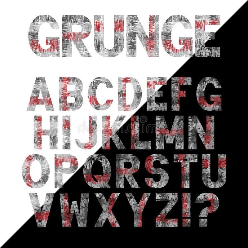Reeks brieven met grungeeffect De symbolen van het vectorafbeeldingenalfabet in graffitistijl stock illustratie