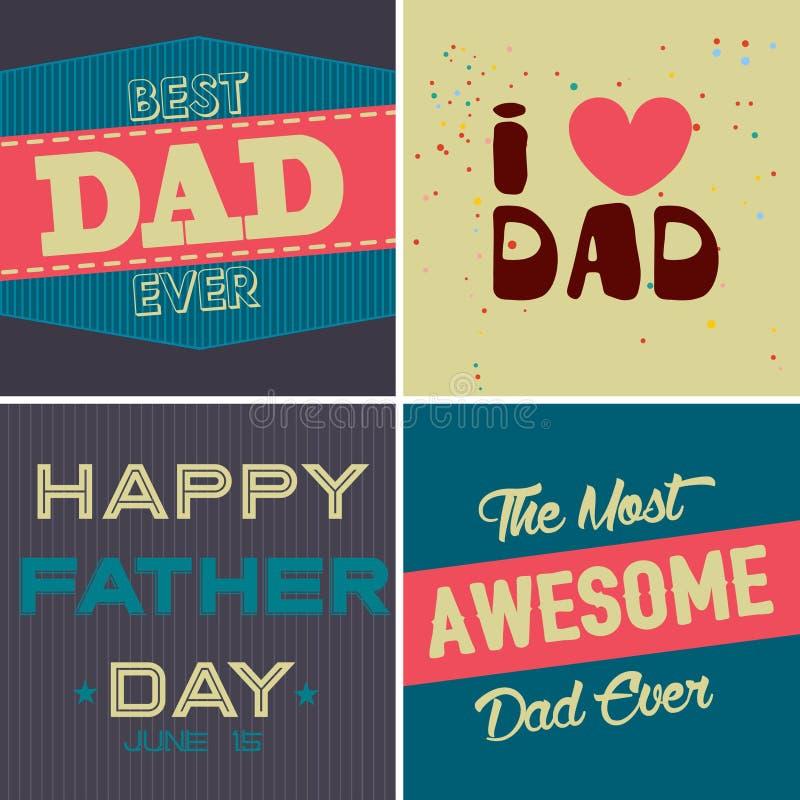 Reeks brochures van de Vaders dag in uitstekende stijl royalty-vrije stock afbeelding