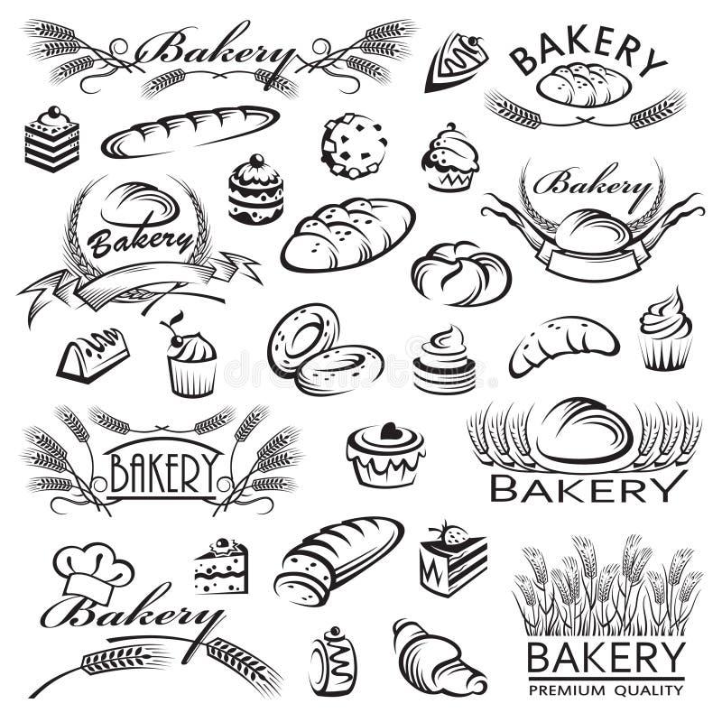 Reeks brood en bakkerijproducten stock illustratie