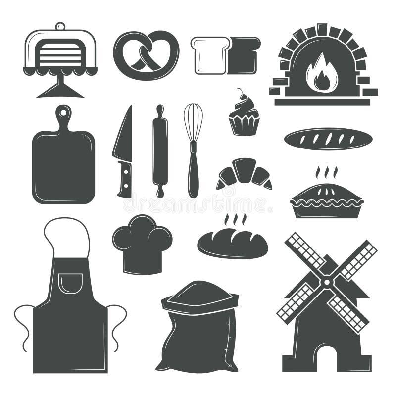 Reeks broodproducten, bakkerijsymbolen, de elementenvector van de koffiewinkel vector illustratie