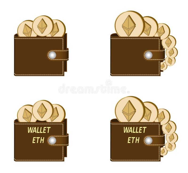 Reeks bruine portefeuilles met ethereummuntstukken stock afbeeldingen