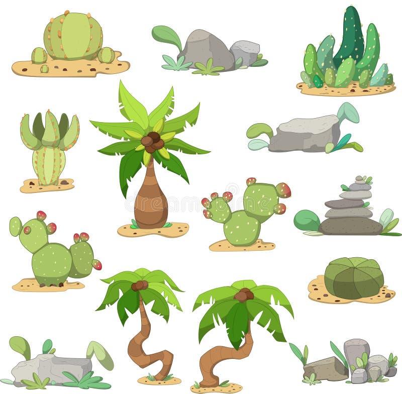 Reeks cactussen, stenen en palmen vector illustratie