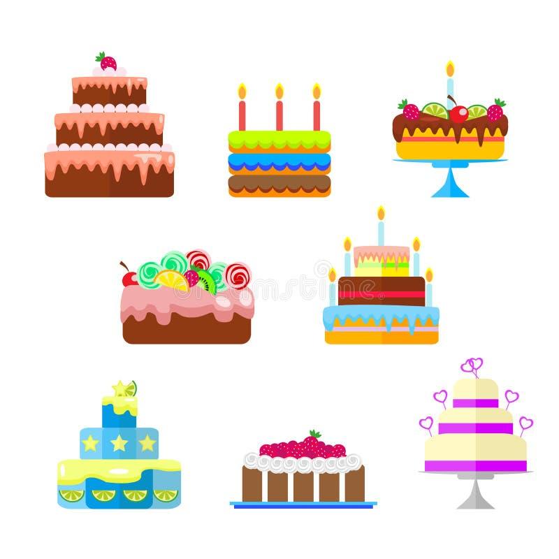 Reeks cakes met fruit en kaarsen aan de verjaardag of andere vakantie Vector, illustratie in vlakke geïsoleerde stijl vector illustratie