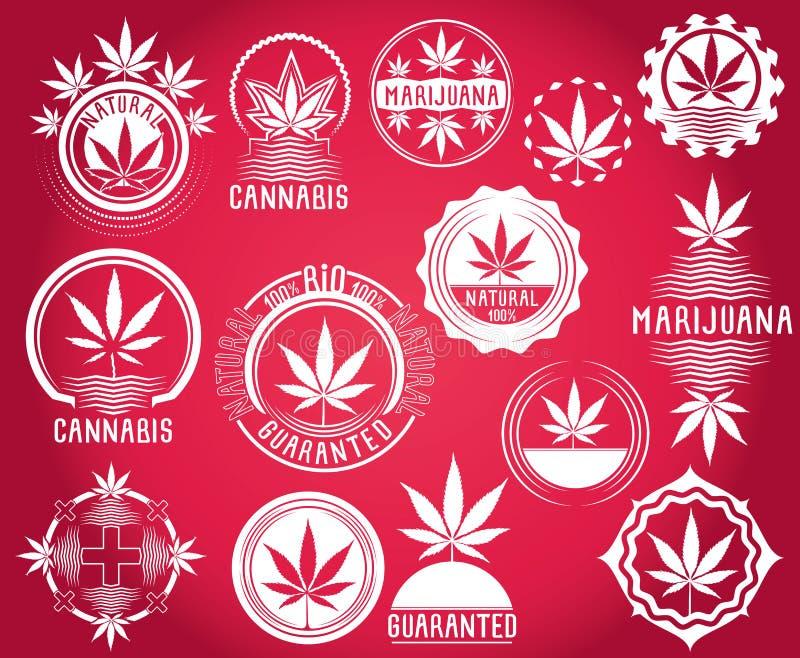 Reeks cannabis en marihuanazegels van het productsymbool  stock illustratie