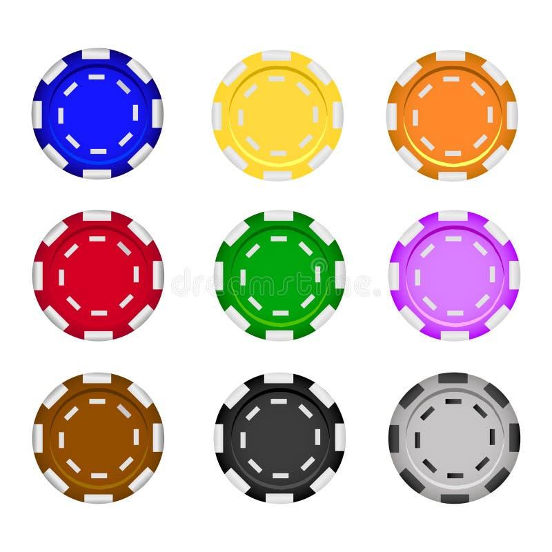 Reeks casinospaanders op een witte achtergrond Vijf Gekleurde Spaanders van de Pook vector realistische illustratie royalty-vrije illustratie