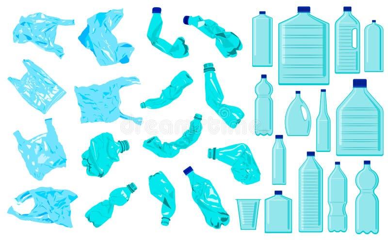 Reeks cellofaanzakken, kruimeltaartflessen en plastic flessen E Ecologieprobleem vector illustratie
