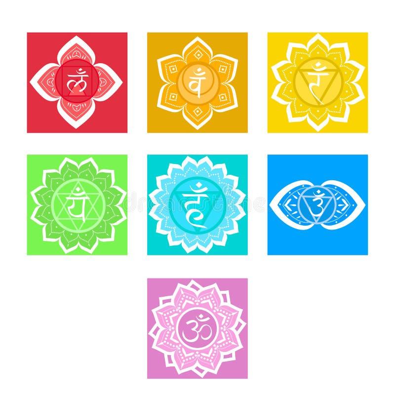 Reeks chakras Symboolmeditatie en spiritual, yogaboeddhisme en energie Vector illustratie stock illustratie