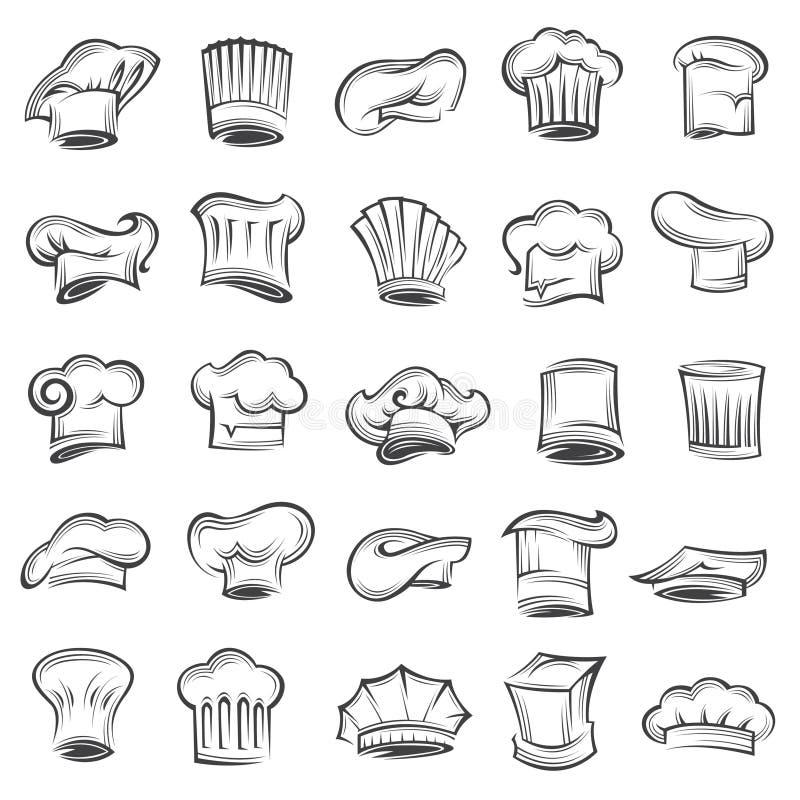 Reeks chef-kokhoeden royalty-vrije illustratie