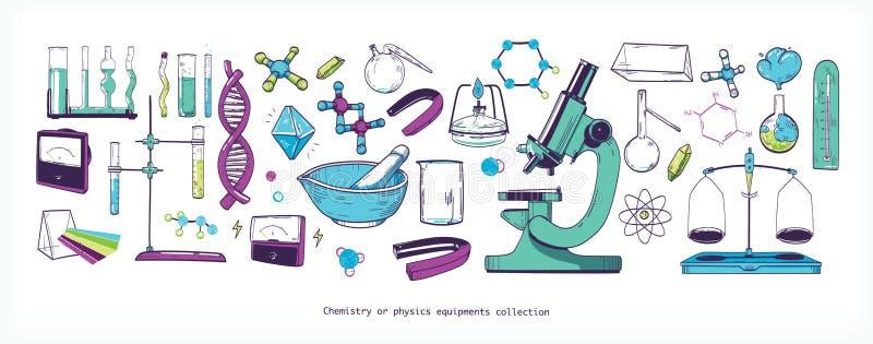 Reeks chemie en fysicalaboratoriummateriaal en hulpmiddelen op witte achtergrond wordt geïsoleerd - microscoop, reageerbuizen die stock illustratie