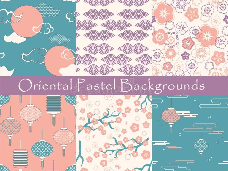 Reeks Chinese vector naadloze patronen de textuur, behang, patroon vult, webpaginaachtergrond, oppervlaktetexturen - vector illustratie