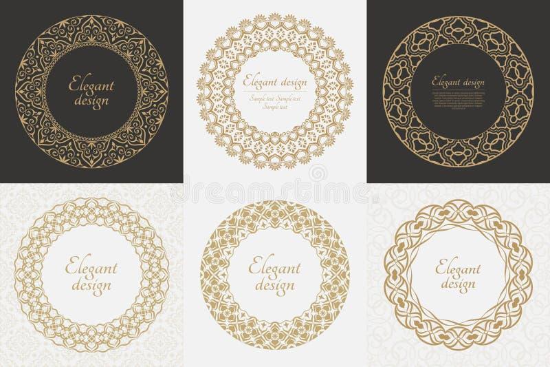 Reeks cirkel barokke patronen royalty-vrije illustratie