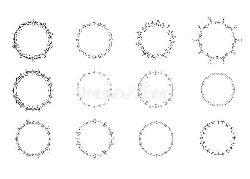 Reeks cirkel decoratieve kaders Vector illustratie vector illustratie