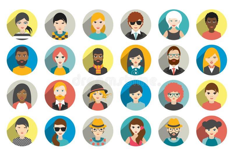 Reeks cirkelpersonen, avatars, de verschillende nationaliteit van mensenhoofden in vlakke stijl vector illustratie