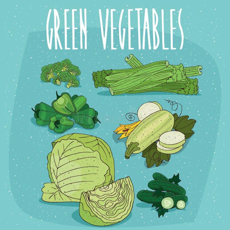 Reeks clipart groene biologische producten stock illustratie