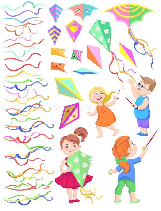 Reeks cliparts van kinderen met vliegers vector illustratie